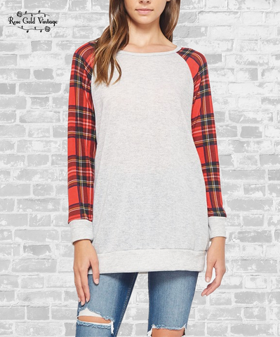 Plaid Sleeve Raglan Tunic - Heather Grey
