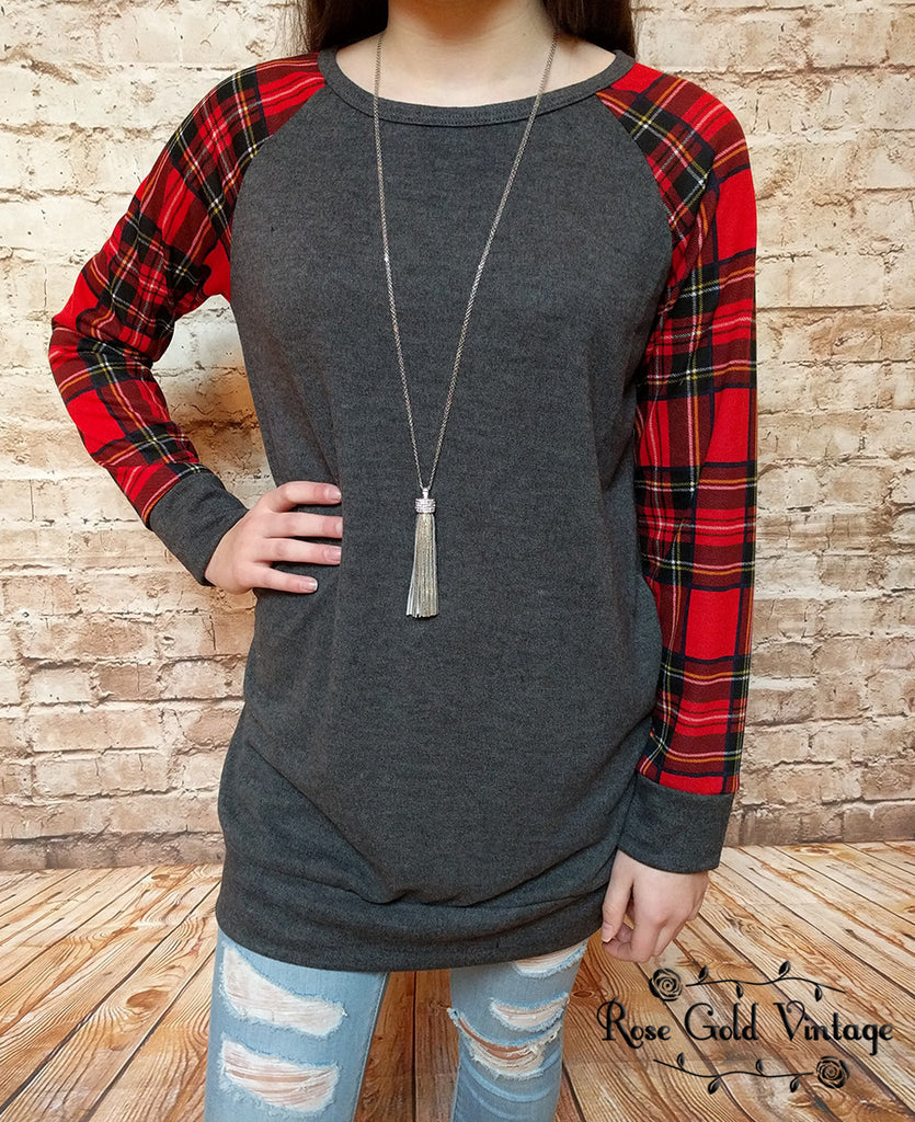 Plaid Sleeve Raglan Tunic