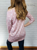 Boat Neck Polka Dot Top - Dusty Pink