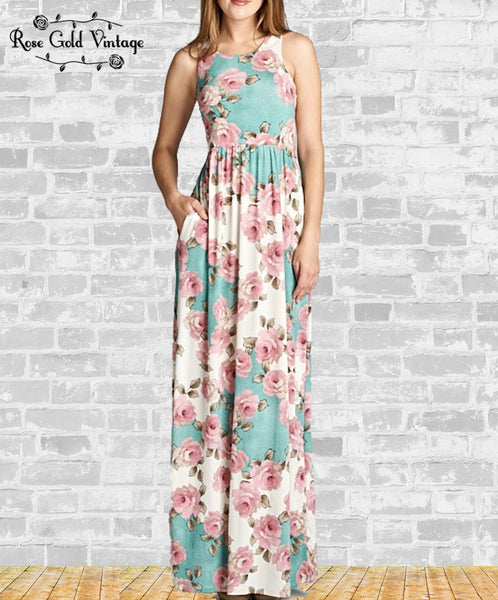 Rose Pocket Maxi Dress