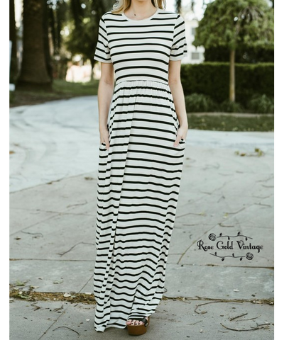 Striped Maxi Dress - Ivory / Black