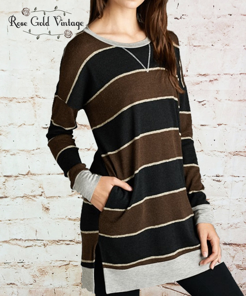 Striped Pocket Tunic - Black & Mocha