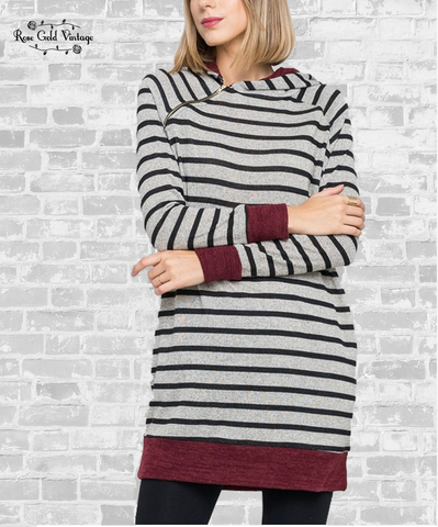 Asymmetrical Zip Striped Sweater Tunic