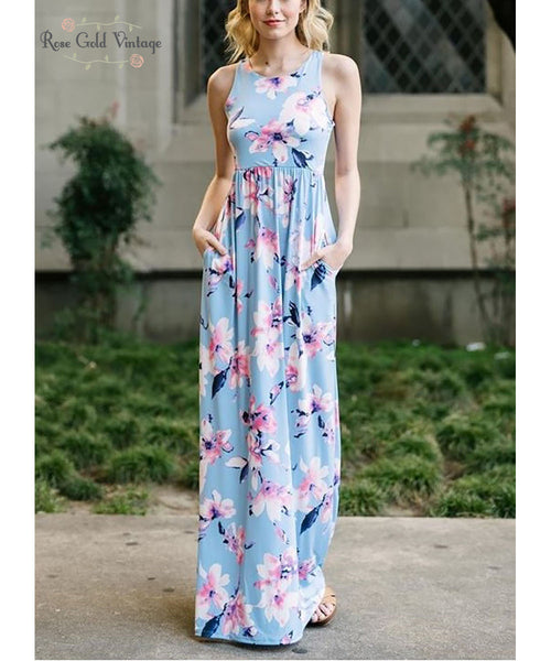 Floral Pocket Maxi Dress - Light Blue