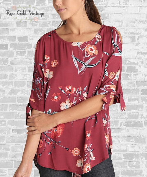 Floral Tie Sleeve Tunic - Burgundy