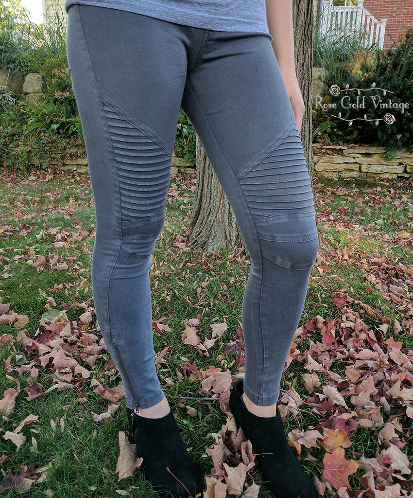 Denim Moto Jeggings - Dark Gray - FINAL SALE