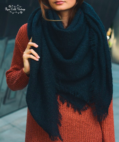 Oversized Open Knit Blanket Scarf - Black