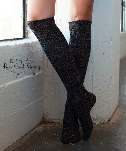 Mixed Knit Boot Socks - Black
