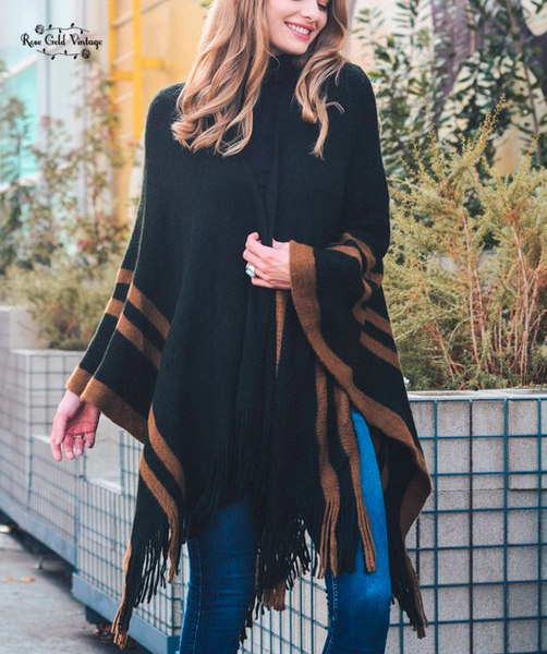 Border Trim Ruana Wrap Poncho - Black & Brown