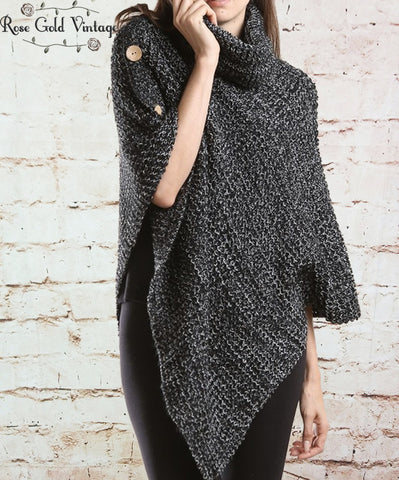 Turtleneck Button Poncho - Black