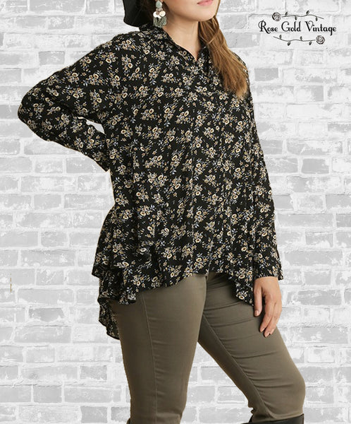 Floral Ruffle Button Up Shirt - Black