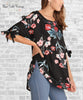 Floral Tie Sleeve Tunic - Black