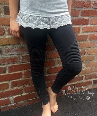 Denim Moto Jeggings - Black (Ladies)