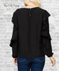 Long Sleeve Ruffle Top - Black
