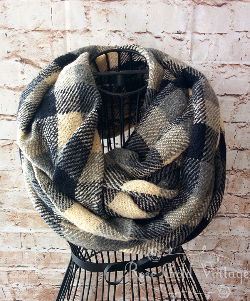 Black & Tan Plaid Infinity Scarf
