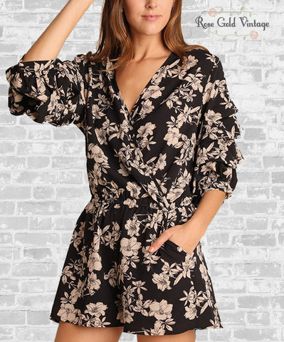 Gathered Sleeve Floral Romper - Black & Tan