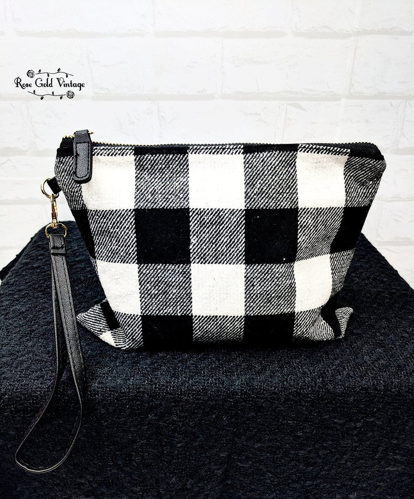Buffalo Plaid Clutch Wristlet - Black & White