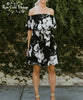Off Shoulder Floral Dress - Black & Ivory