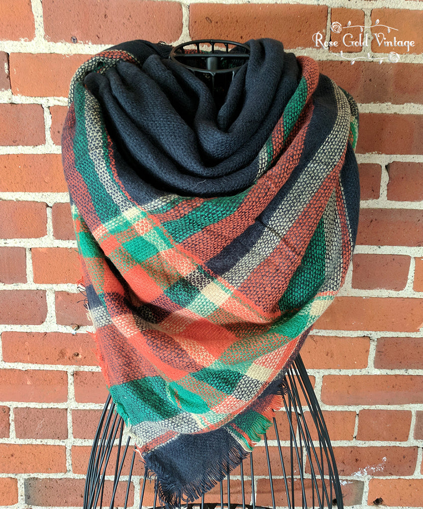 Oversized Perfect Plaid Blanket Scarf - Navy