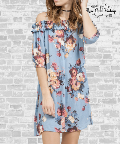 Off Shoulder Blue Floral Dress