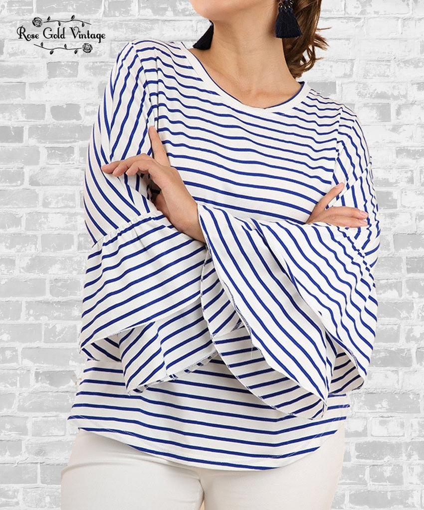 Striped Bell Sleeve Tee - Blue & Ivory