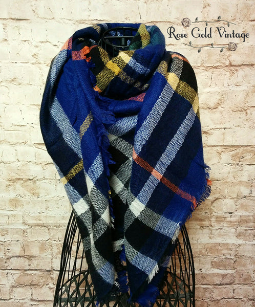 Oversized Perfect Plaid Blanket Scarf Blue Rose Gold Vintage