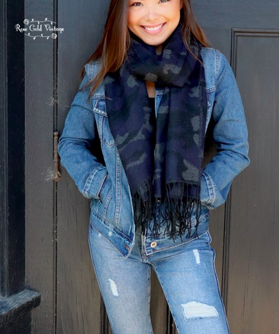 Camo Fringed Scarf - Blue