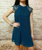 Lace Trim Dress - Teal