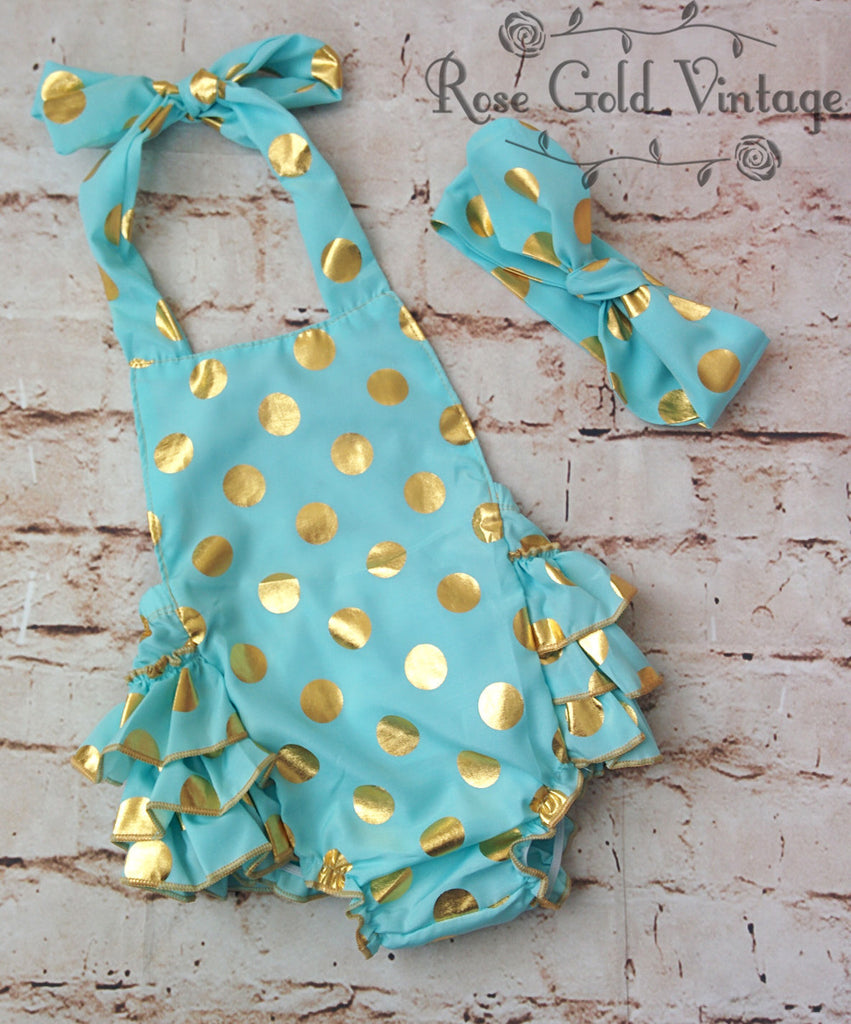 Gold Polka Dot Bubble Rompers with Headwrap (Infant)