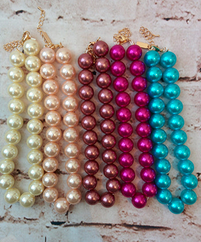 Bubble Gum Pearl Necklaces (Toddler)