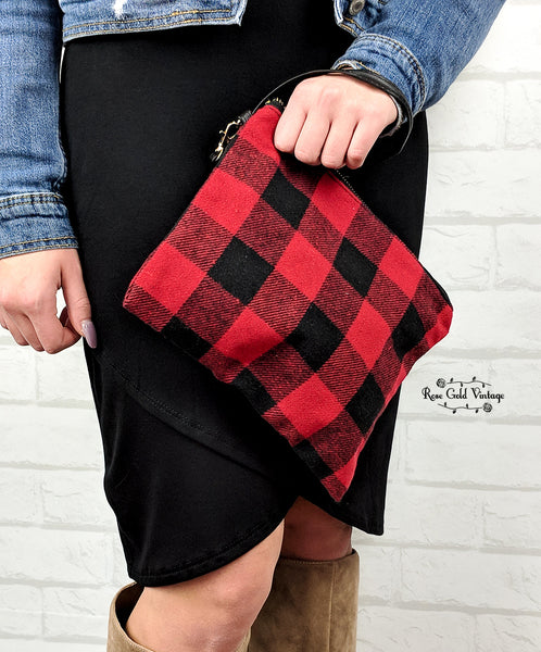 Buffalo Plaid Clutch Wristlet - Red & Black