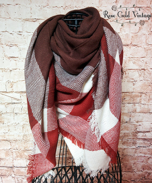 Oversized Buffalo Plaid Blanket Scarf - Burgundy