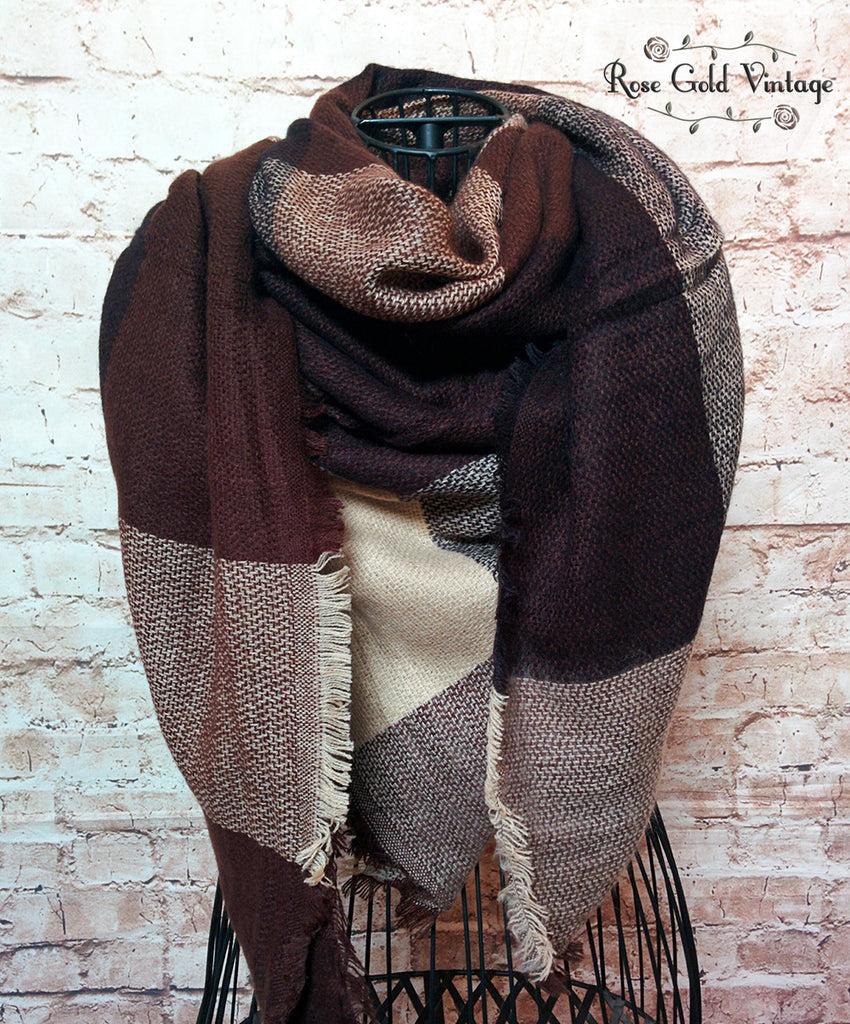 Oversized Buffalo Plaid Blanket Scarf - Brown