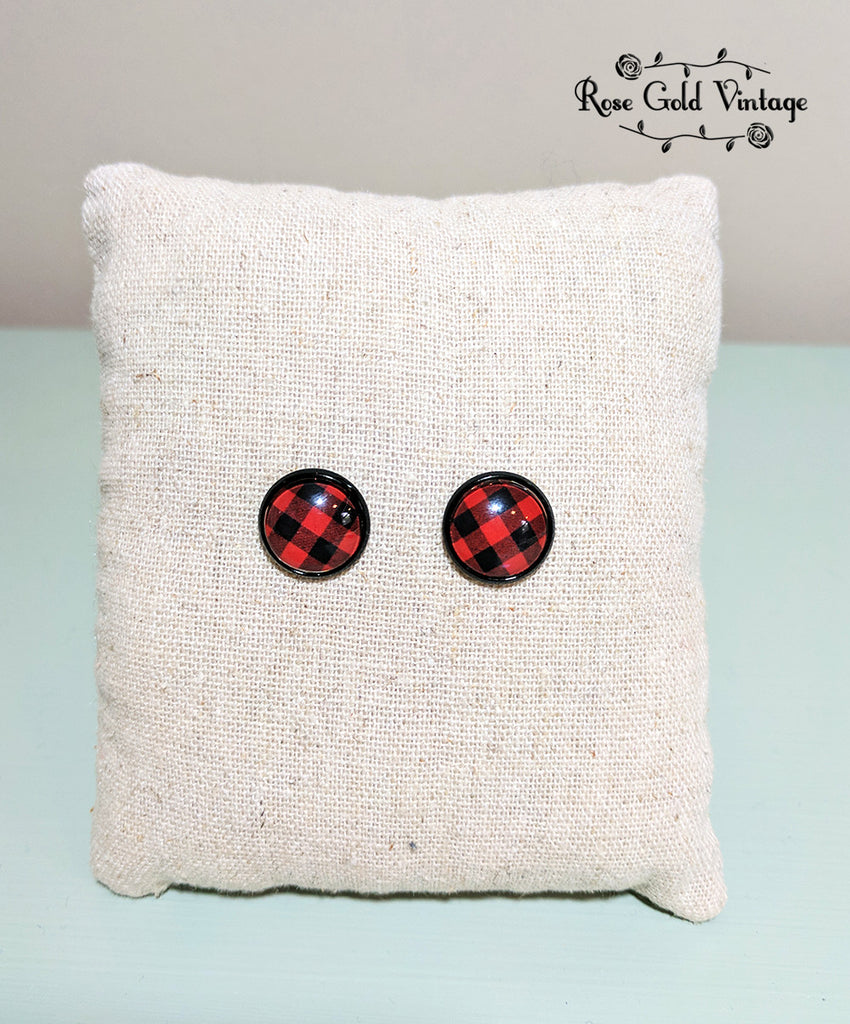 Buffalo Plaid Stud Earrings