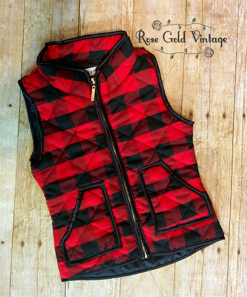 buffalo plaid vest for girls � rose gold vintage