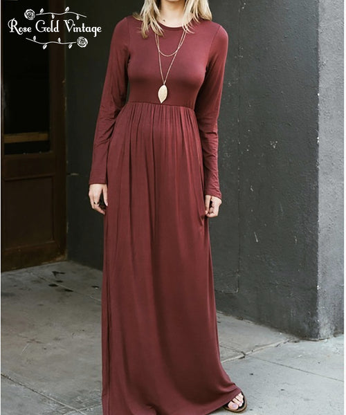 Long Sleeve Pocket Maxi Dress - Marsala