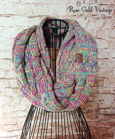 CC Cable Knit Infinity Scarf - Bright Multi