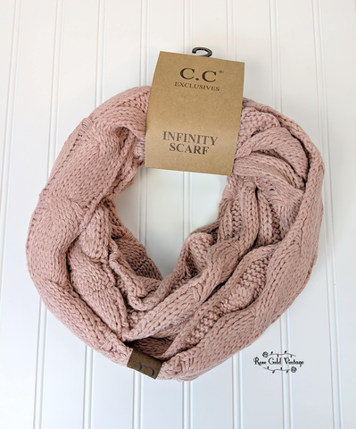 CC Cable Knit Infinity Scarf - Indi Pink