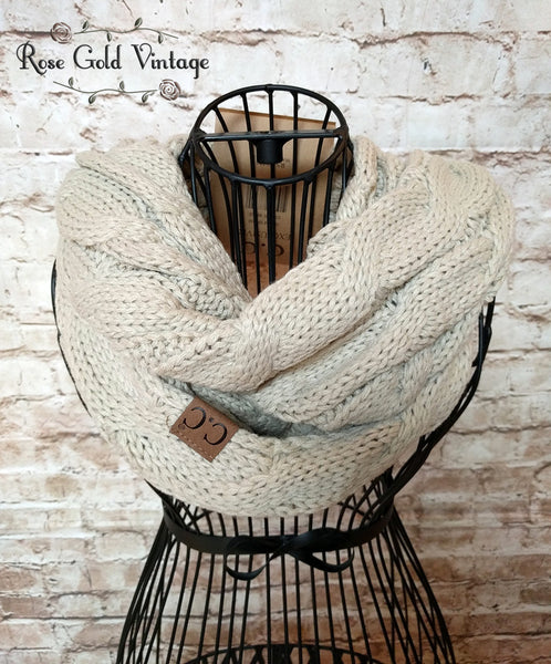 CC Cable Knit Infinity Scarf - Beige
