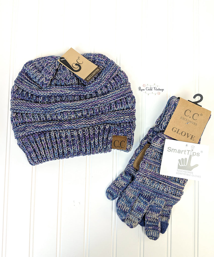 CC Beanie & Glove Bundle - Purple Mix