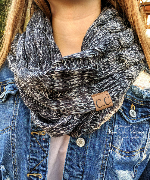 CC Cable Knit Infinity Scarf - Black & Ivory Mix