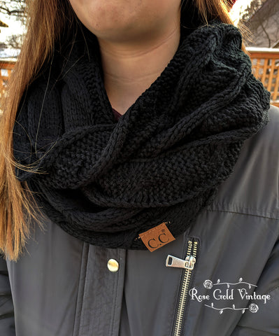CC Cable Knit Infinity Scarf - Black