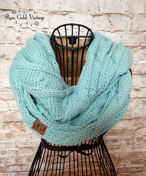 CC Cable Knit Infinity Scarf - Mint