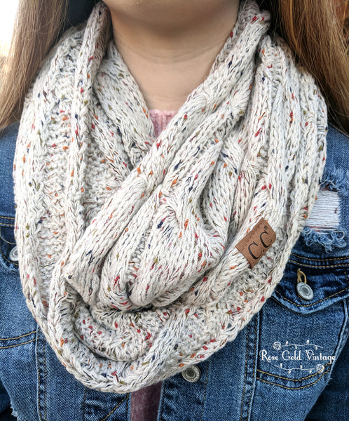 CC Cable Knit Infinity Scarf - Oatmeal Confetti