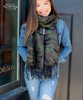 Camo Fringed Scarf - Green