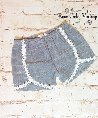 Crochet Trim Chambray Shorts (Infant, Toddler & Girls)