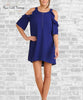 Ruffle Cold Shoulder Dress - Cobalt