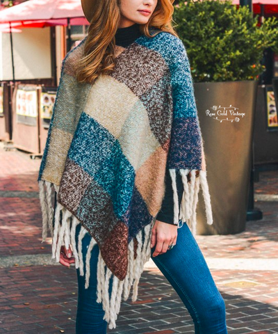 Color Block Tassel Poncho - Multi