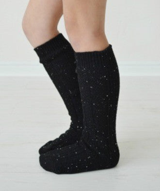 Girls Confetti Knit Boot Socks - Black