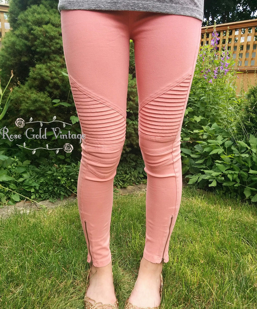 Denim Moto Jeggings - Coral (Ladies)